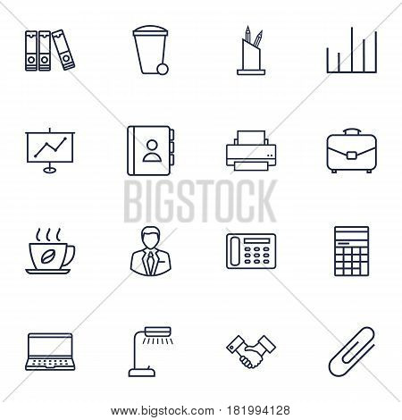 Set Of 16 Service Outline Icons Set.Collection Of Administrator, Notebook, Partnership And Other Elements.