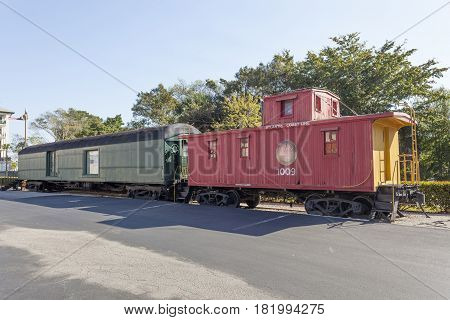 Naples Fl USA - March 21 2017: Old waggons from the Atlantic Coast Line at the Naples depot and train museum. Florida United States