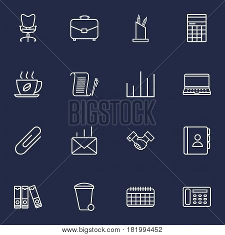 Set Of 16 Work Outline Icons Set.Collection Of Document Case, Workplace, Counter And Other Elements.