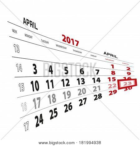 23 April Highlighted On Calendar 2017. Week Starts From Monday.