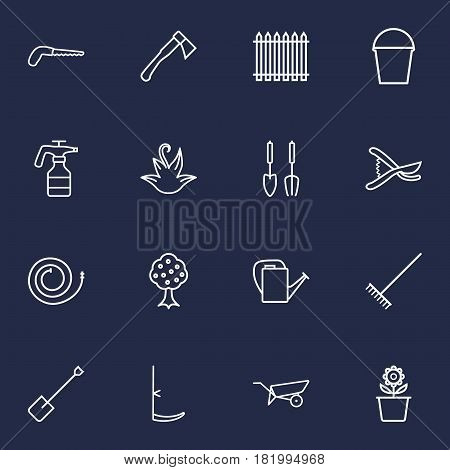 Set Of 16 Household Outline Icons Set.Collection Of Bailer, Harrow, Garden And Other Elements.