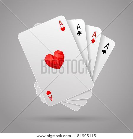 Set of four aces playing cards suits on gray background. Winning poker hand. JPG include isolated path