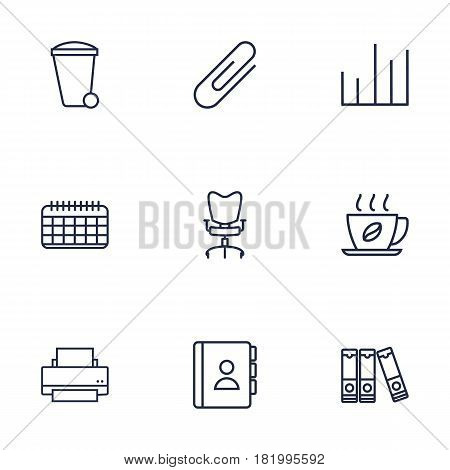 Set Of 9 Service Outline Icons Set.Collection Of Fastener Paper, Document Case, Date And Other Elements.