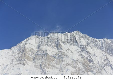 Himalaya Annapurna One snow mountain peak in blue sky view from Annapurna base camp famous trekking destination in Nepal.
