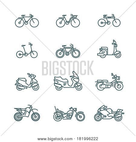 Motorbike, motorcycle, scooter, bike, bicycle thin line vector icons. Linear motorbike and bicycle, illustration of scooter and motor bike