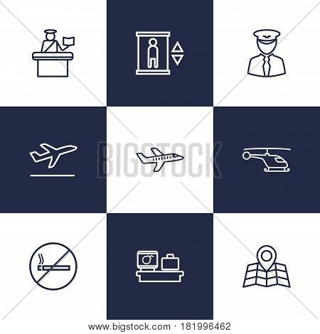 Set Of 9 Airplane Outline Icons Set.Collection Of Pilot, Map, Helicopter And Other Elements.