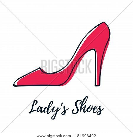 Red lady's shoe icon. Hand drawn high heel classic shoe vector illustration.