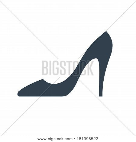 Lady's shoe icon. High heel classic shoe silhouette.