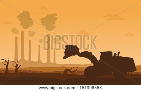 Silhouette of bad environment with clean forest vector illustration