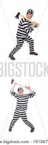 Funny prison inmate in concept
