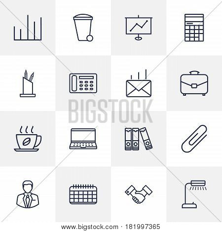 Set Of 16 Service Outline Icons Set.Collection Of Partnership, Date, Notebook And Other Elements.