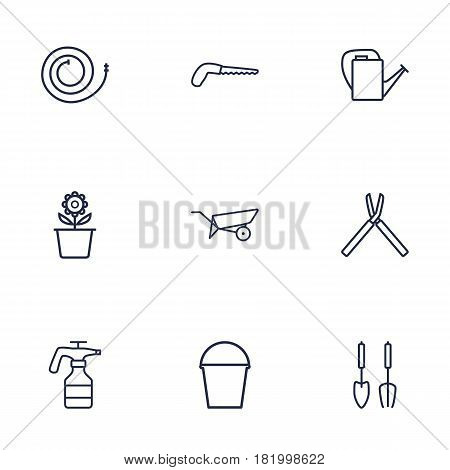 Set Of 9 Horticulture Outline Icons Set.Collection Of Arm-Cutter, Bailer, Instruments And Other Elements.