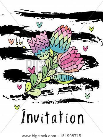 Hand drawn hipster floral invitation card cover, stylish flower vector. White background with brushstrokes