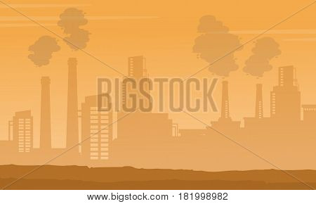 Silhouette of industry with fog background vector illustration