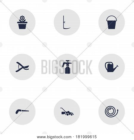 Set Of 9 Farm Icons Set.Collection Of Cutter, Pruner, Watering Can And Other Elements.