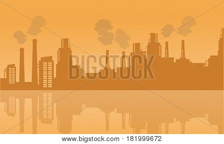 Background industry with reflection vector art illustration