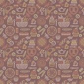 Bakery seamless pattern, food vector background of brown, yellow color. Confectionery products thin line icons - cake, croissant, muffin, pastry, cupcake, pie. Cute repeated illustration for sweet shop. poster