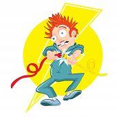 Cartoon electrician getting electrocuted. Lightning bolt design behind poster