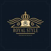 Line art Monogram luxury design graceful template. Calligraphic elegant beautiful logo. Royal style. Letter emblem sign R for Royalty Restaurant Boutique Hotel Heraldic. Vector illustration poster