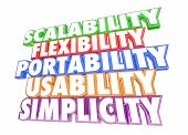 Scalability Usability Flexibility Simplicity Words 3d Illustration poster