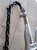 Anchor and chain against wall at U.S.S. Bowfin in HI poster