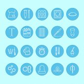 Contraceptive methods line icons. Birth control equipment, condom, oral contraceptives, iud, barrier contraception vaginal ring, sterilization. Safe sex thin linear sign for medical clinic. Blue color poster
