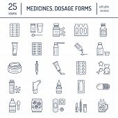 Medicines, dosage forms line icons. Pharmacy medicaments, tablet, capsules, pills, antibiotics, vitamins, painkillers, aerosol spray. Medical threatment health care thin linear signs for drug store poster