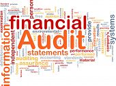 Background concept wordcloud illustration of financial audit poster