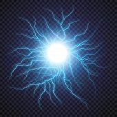 Lightning flash light thunder spark on transparent background. Vector ball lightning or electricity blast storm or thunderbolt in sky. Natural phenomenon of human nerve or neural cells system. poster
