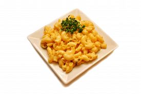 Mac and Cheese Served on a Square Plate