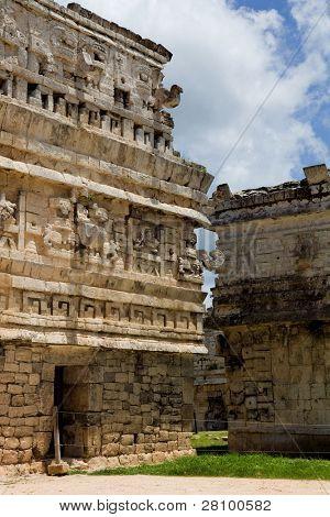 Ancient Mayan temple detail at Chichen Itza, Yucatan, Mexico
