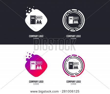 Logotype Concept. Human Resources Sign Icon. Queue At The Hr Door Symbol. Workforce Of Business Orga
