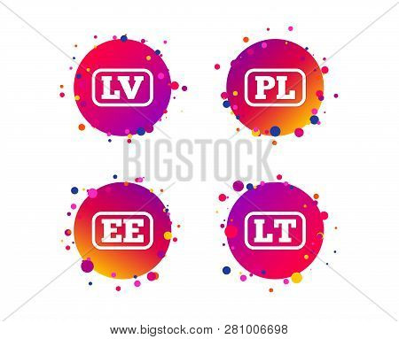 Language Icons. Pl, Lv, Lt And Ee Translation Symbols. Poland, Latvia, Lithuania And Estonia Languag