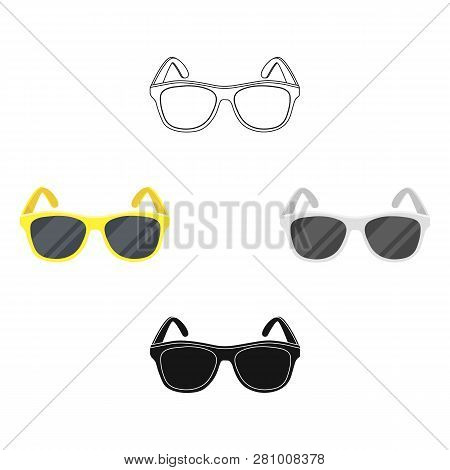 Yellow Trendy Sunglasses Icon In Cartoon Style Isolated On White Background. Brazil Country Symbol S