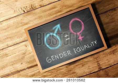Equality Of Gender Symbol On The Blackboard. Equality Gender Concept
