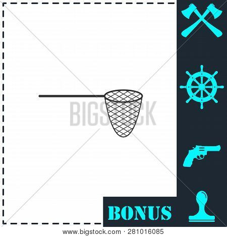 Fishing Net Icon Flat. Simple Vector Symbol And Bonus Icon