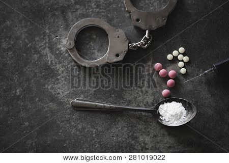 Drugs Of Various Kinds  On The Floor, Collection Of Different Hard Drugs Heroin, Pills, Tobacco, Add
