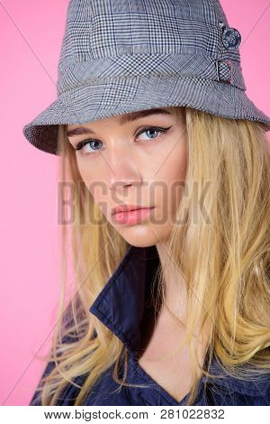 Girl With Make Up Wear Wide Brimmed Hat. Fashion Girl Concept. Fashion And Style. Blonde Fashion Mod