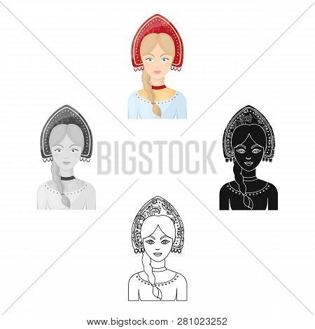 Russian Woman In Traditional Suit Icon In Cartoon Style Isolated On White Background. Russian Countr