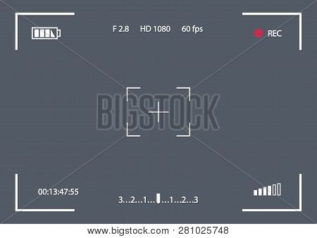 Vector Record Frame Template For Camera Isolated On Transparent Background. Viewfinder Template. Scr