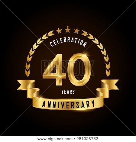 40 Years Anniversary Celebration Logotype. Golden Anniversary Emblem With Ribbon. Design For Booklet