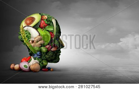 Vegan And Vegetarian Psychology Concept With A Group Of Fruit Nuts Beans And Vegetable As An Eating