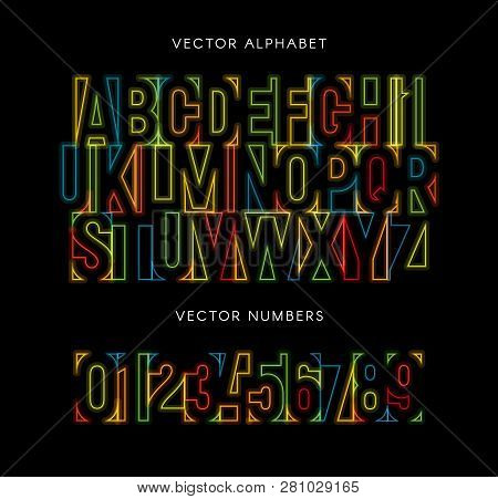 Colorful Letters And Numbers Set. Colored Vector Latin Alphabet. Rainbow Color Font. Geometrical Neo
