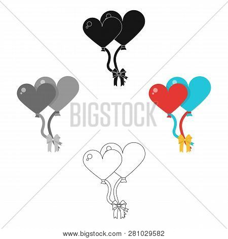 Large Inable Balls Of The Bride And Groom For A Wedding In The Form Of Hearts.wedding Single Icon In