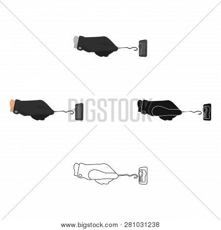 Lockpick In The Hand Of The Criminal. Latchkey, Thief Tool, Crime Single Icon In Cartoon Style Vecto