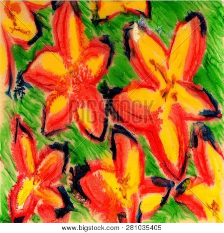 Spring Flower Background. Red And Green Colors