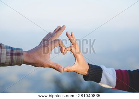 Heart In Hands, Loving Couple, Couple In Love, Happy Couple In Love,  Love Couple.