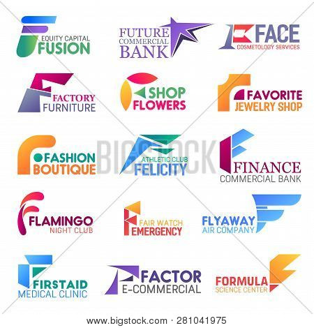 Corporate Identity Letter F Business Icons. Vector Finance And Beauty, Furniture And Floristry, Jewe