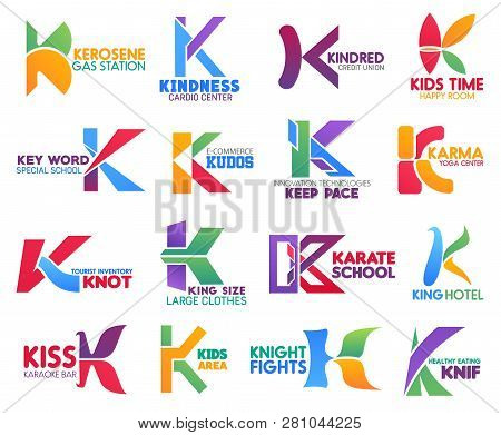 Corporate Identity Letter K Business Icons. Vector Gas And Medicine, Finance And Entertainment, Educ