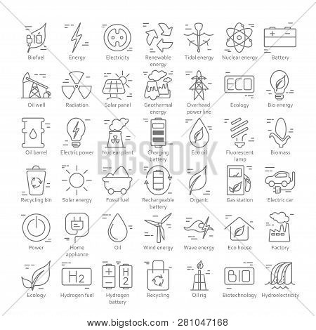 Collection Of Linear Style Vector Icons  On The Theme Of Electric Power. Renewable And Non-renewable